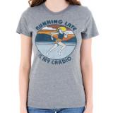 Running Late Is My Cardio Junior Women's T-Shirt Triblend Gray