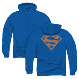 Superman Blue And Orange Shield (Back Print) Adult Zipper Hoodie Sweatshirt Royal Blue