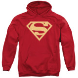 Superman Red And Gold Shield Adult Pullover Hoodie Sweatshirt Red