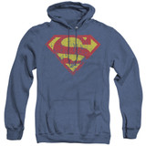 Superman Classic Logo Distressed Adult Heather Hoodie Sweatshirt Royal Blue
