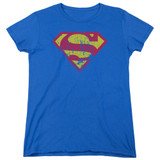 Superman Classic Logo Distressed Women's T-Shirt Royal Blue