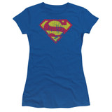 Superman Classic Logo Distressed Junior Women's Sheer T-Shirt Classic Royal Blue