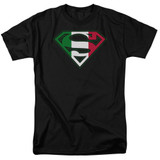 Superman Italian Shield Adult 18/1 T-Shirt Black