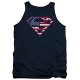 Superman U S Shield Adult Tank Top T-Shirt Navy