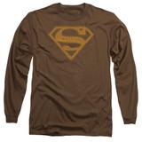 Superman 60S Type Shield Adult Long Sleeve T-Shirt Coffee
