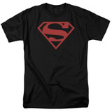 Superman Red On Black Shield Adult 18/1 T-Shirt Black