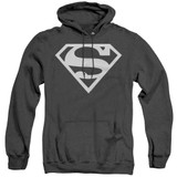 Superman Logo Adult Heather Hoodie Sweatshirt Black