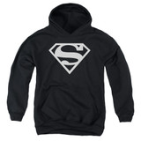 Superman Logo Youth Pullover Hoodie Sweatshirt Black