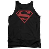 Superman Red On Black Shield Adult Tank Top T-Shirt Black