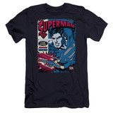 Superman Action Packed Premium Canvas Adult Slim Fit 30/1 T-Shirt Navy