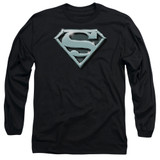 Superman Chrome Shield Adult Long Sleeve T-Shirt Black