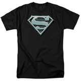 Superman Chrome Shield Adult 18/1 T-Shirt Black