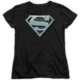 Superman Chrome Shield Women's T-Shirt Black