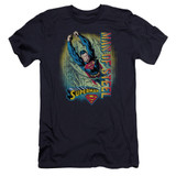 Superman Breakthrough Premium Canvas Adult Slim Fit 30/1 T-Shirt Navy