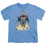 Superman 224 Cover Youth T-Shirt Carolina Blue