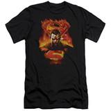 Superman Man On Fire Adult 30/1 T-Shirt Black