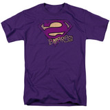 Superman Bizarro Logo Distressed Adult 18/1 T-Shirt Purple