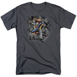 Superman Break On Through Adult 18/1 T-Shirt Charcoal