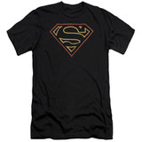 Superman Colored Shield Premuim Canvas Adult Slim Fit 30/1 T-Shirt Black