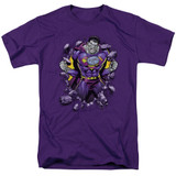 Superman Bizzaro Breakthrough Adult 18/1 T-Shirt Purple
