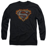 Superman Iron Fire Shield Adult Long Sleeve T-Shirt Black