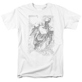 Superman Exploding Space Sketch Adult 18/1 T-Shirt White