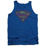 Superman Tattered Shield Adult Tank Top T-Shirt Royal Blue