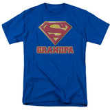 Superman Super Grandpa Adult 18/1 T-Shirt Royal Blue