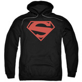 Superman 52 Red Block Adult Pullover Hoodie Sweatshirt Black