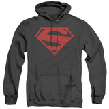 Superman 52 Red Block Adult Heather Hoodie Sweatshirt Black