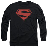 Superman 52 Red Block Adult Long Sleeve T-Shirt Black