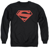 Superman 52 Red Block Adult Crewneck Sweatshirt Black