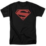 Superman 52 Red Block Adult 18/1 T-Shirt Black
