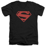 Superman 52 Red Block Adult V-Neck T-Shirt Black