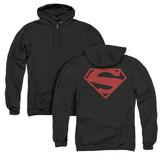 Superman 52 Red Block (Back Print) Adult Zipper Hoodie Sweatshirt Black