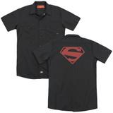 Superman 52 Red Block(Back Print) Adult Work Shirt Black