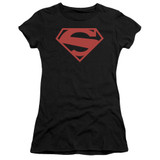 Superman 52 Red Block Junior Women's Sheer T-Shirt Black