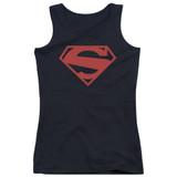 Superman 52 Red Block Junior Women's Tank Top T-Shirt Black