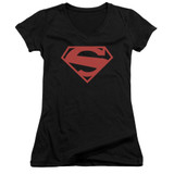 Superman 52 Red Block Junior Women's V-Neck T-Shirt Black