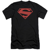 Superman 52 Red Block Premuim Canvas Adult Slim Fit 30/1 T-Shirt Black