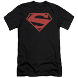 Superman 52 Red Block Adult 30/1 T-Shirt Black