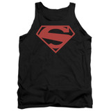 Superman 52 Red Block Adult Tank Top T-Shirt Black
