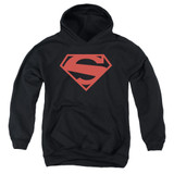 Superman 52 Red Block Youth Pullover Hoodie Sweatshirt Black