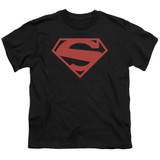 Superman 52 Red Block Youth T-Shirt Black
