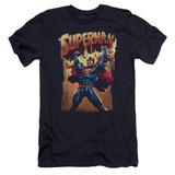 Superman Lift Up Premium Canvas Adult Slim Fit 30/1 T-Shirt Navy