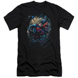 Superman Breaking Space Adult 30/1 T-Shirt Black
