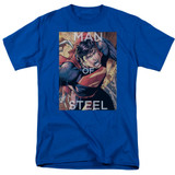 Superman Flight Of Steel Adult 18/1 T-Shirt Royal Blue