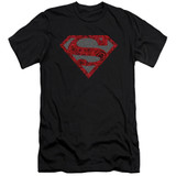 Superman Elephant Rose Shield Adult 30/1 T-Shirt Black