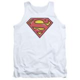 Superman Airbrush Shield Adult Tank Top T-Shirt White