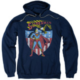 Superman All American Adult Pullover Hoodie Sweatshirt Navy